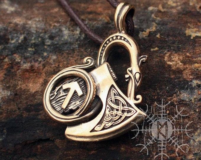 Bronze Sekira Dragon Viking Tiwaz Rune Scandinavian Norse Nordic Amulet Pendant Necklace