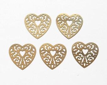 5 pendants 18mm gold tone heart charms