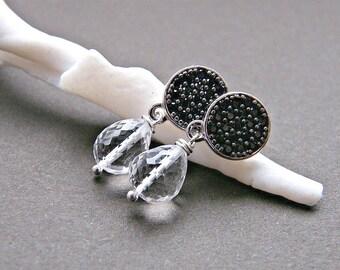 Black earrings with post, black spinel earrings, Art Deco style, sterling silver post earrings, monochrome earrings, clear quartz earrings