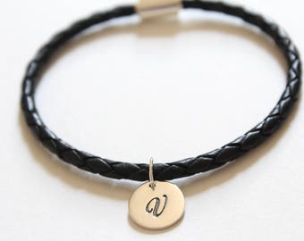 Leather Bracelet with Sterling Silver Cursive V Letter Charm, Bracelet with Silver Letter V Pendant, Initial V Charm Bracelet, V Bracelet
