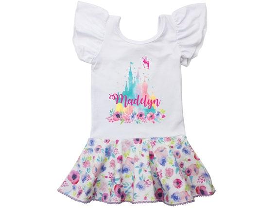 Cinderella Castle Floral Leotard Personalized Leotard Skirt Leotard Twirl Flutter Sleeve Bow Back Ballet Leotard Birthday Watercolor Floral