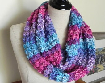 Crochet scarf, infinity scarf in multi color shades of blue, purple and red is ready to ship, infinity scarf #447