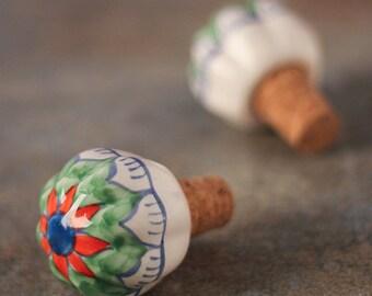 Ceramic Hand painted Wine Bottle Stopper, Bottle Stopper (Sold In Set of 6)
