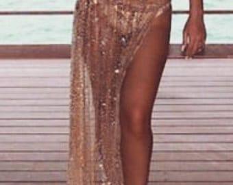 Tassle, Fringe, long chiffon Beach Skirt, Sarong, Ribbon tie, Cover Up, Skirt.