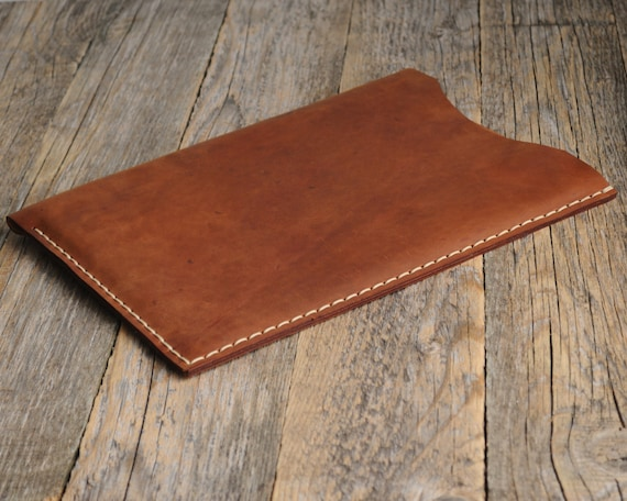 Brown Sleeve for iPad Pro 9.7-inch, 12.9‑inch Air 2 Mini 4 3 2 Case PERSONALIZED. Waxed and Aged Leather Cover. Hand Sewn Rought Style Bag.