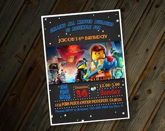 Lego Movie Invite Personalized Birthday Invitation Custom Digital Design with Emmett Batman Wyldstyle on Chalkboard Background