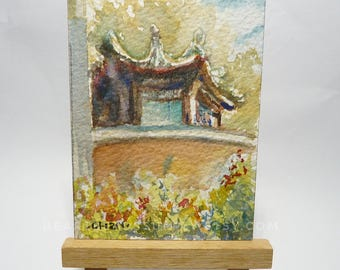 original Aceo, Chinese Pavillion, Singapore,  original aceo watercolor painting, id1709092miniature art landscape, building