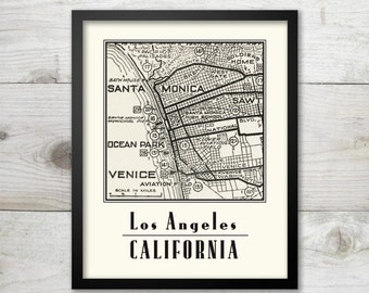 Los Angeles, Santa Monica, Venice - Vintage Map Art Print  8 x 10