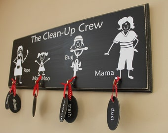 10 CHALKBOARD TAGS for Stick Family Chore Chart (S-014tag)
