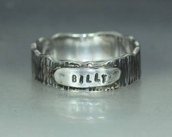 Recycled Silver Womans Mans Initial Name Textured Band Ring