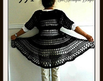 Long Black Vest- Crochet PATTERN, Vest pattern for women, teens, Chest 30-60 inch, Oversize, shrug cardigan sweater shawl,#994