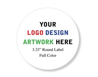 """Custom Professional Company Business Logo Design Labels Stickers 3.33"""" round"""