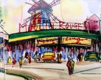 Vintage 1950's Arnart Renee Hand Painted Ceramic Tile Art Paris Moulin Rouge, Original Hand Painted Japan, Mid Century Modern, Street Scene