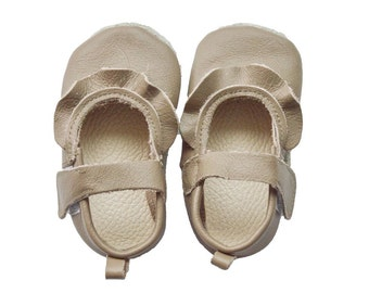 Genuine Leather Baby Moccasins   Ruffled Strap leather shoes {Topaz}
