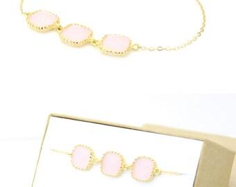 Blush Pink / Gold Triple Square Bracelet - Pink Jewelry - Blush Pink Bracelets Delicate Bracelet - Pink Bridesmaid Gift - BS2