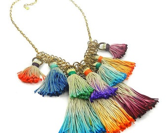 Colorful Ombre Tassel Bib Necklace, Tassel Statement Necklace, Bohemian Tassel Jewelry