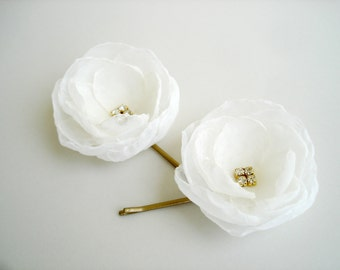 Off White  Bridal Hair Flowers, Gold Wedding Hair Accessories, White Flower Girl Headpiece, Wedding Hair Flowers, Flower Hair Pins