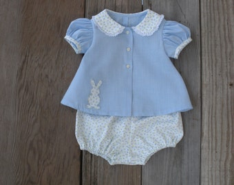 Girl's diaper set with bunny