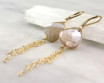 Gold Wrapped Peach Moonstone Tassel Earrings