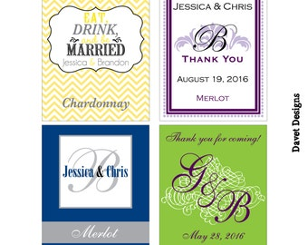 120 - 3x4 inch Custom Wedding Wine Bottle / Rectangle Waterproof Labels - many designs to choose - change designs to any color, wording etc