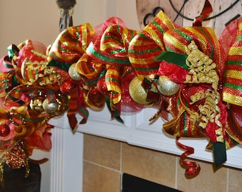 Red Green and Gold Christmas Garland Example Only