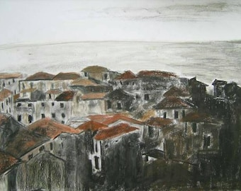 Landscape drawing, oil pastel, Nicastro, Southern Italy, Calabria, oil pastel on paper, graphite pencil, 250 gram paper.