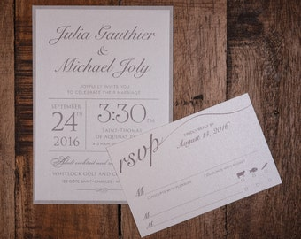 Kraft Wedding Invitations, Taupe Wedding Invitations, Taupe Kraft Wedding Invitations, Rustic Kraft Invitation,Modern Kraft Invitation