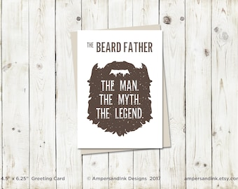 The Beard Father, Man Myth Legend, Father's Day Card - Greeting Card with envelope