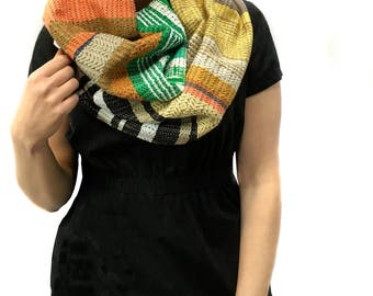 Heidi | pidge pidge Woven Vegan Scarf | Spring Handwoven Heirloom Textile | Vibrant Luxe Gifts for Her | Striped Statement Accessory | H87
