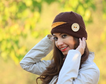 Winter knit beanie hat for women in brown and mustard, Knit hat with a button, Handmade fashion winter knit beanie, Women hat for winter
