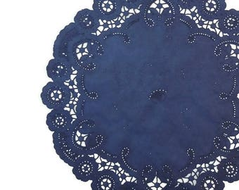 """NAVY BLUE French Lace Paper Doilies   6"""" 8"""" 10"""" Sizes   Hand Dyed Dark Blue Navy Doily   Navy Doilies   The Paper Doily Store"""