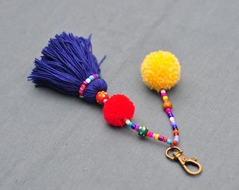 Pom Pom keychain  ,bag accessory