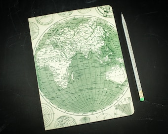 Vintage Map Softcover Notebook | Travel Journal, Adventure, Voyage, Girlfriend Boyfriend Gift, Dot Grid, Recycled Paper,