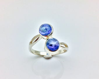Tanzanite Ring // 925 Sterling Silver // Double Round Setting // Silver Tanzanite Ring