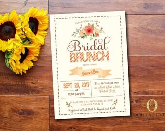 Fall Bridal brunch Invitation, Bridal Luncheon Invitations, Bridesmaids Brunch Invitation, Bridal Shower Invitation, DIY, Orange, FBBO