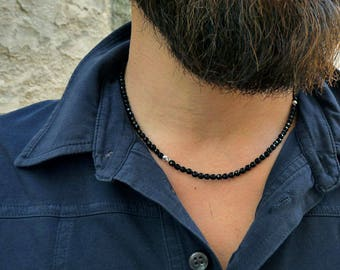 Black onyx necklace. Black Onyx necklace for man. Thin necklace for man. Jewels for man. Beaded necklace for man. Gifts for him