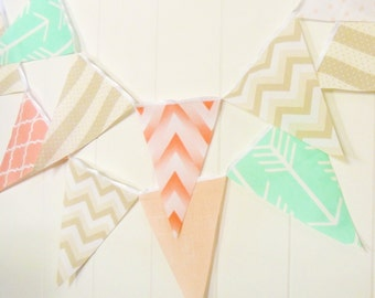 Bunting Fabric Banner Peach, Mint, Tan Pennant Flags, Wedding Party Banner, Chevron, Arrow, Photo Prop, Baby Nursery Decor, Birthday