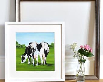 Anniversary - Gift for Farmer - Dairy Cows - Love Heart - Art Print - 'Cheek to Cheek' - Cow Painting