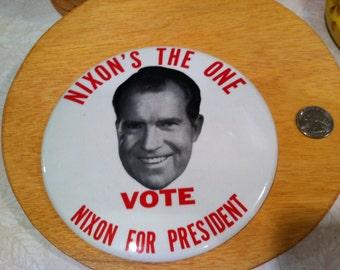 """Large political Nixon button 6"""""""