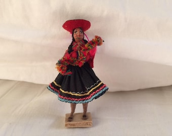 Vintage Mexican Folk Art Doll Collectible