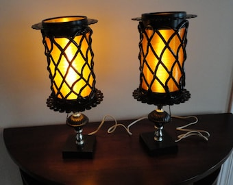 Orange/Black Spun Lucite Table Lamps  60's Vintage
