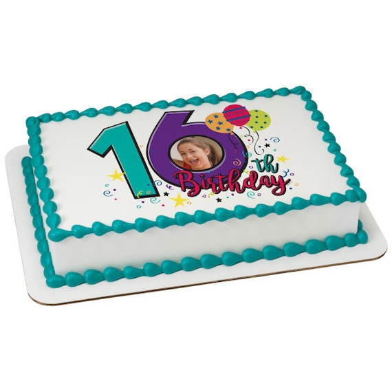 Happy 16th Birthday - Edible Cake and Cupcake Photo Frame For Birthdays and Parties! - D24110