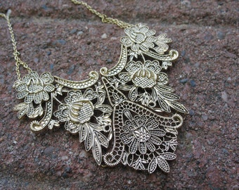 Gold Filigree Collar/Bib Necklace