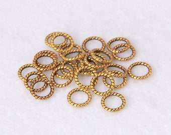 Circle Ring Charms Antiqued Gold Textured Jump Rings Soldered Rings Rope Rings Gold Charm Rings 8mm Charms BULK Charms 50pcs