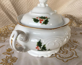 Vintage Royal Kent Holly and Berries Christmas Sugar Bowl Made in Poland
