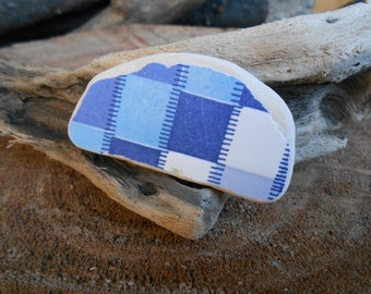 Sea pottery shard blue light blue and white checked pattern, jewelry, craft, pebble art collectible 1 piece genuine beach pottery   lotto286