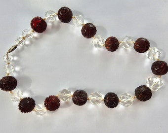 Vintage Bakelite Carved Cherry Amber and Rock Crystal Choker with 14K White Gold Clasp