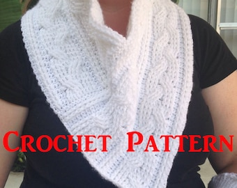 Crochet Cowl Pattern, Cable Crochet Pattern, Neckwear Pattern, PDF Cables, How to Make a Cowl, How to Crochet, Winter Cowl Pattern, Cables