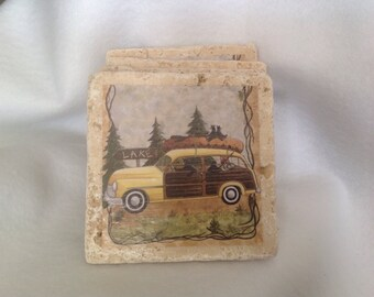 Coasters, Woody Station Wagon Natural Stone Coasters, Set of Four, Beverage Coaster, Beer Coaster