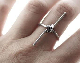 Sterling Silber Draht gewickelt Bar Ring